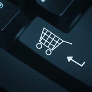 Shopping cart image on a keyboard