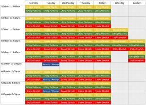 Snake Accessories Timetable